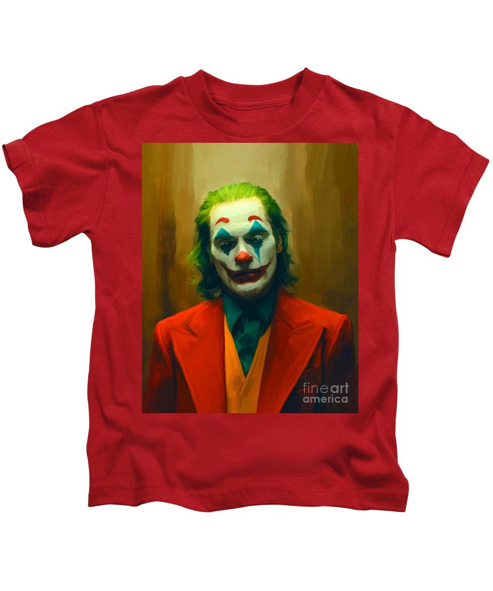 Joker Kids T-Shirt featuring the painting The Joker by Paul Tagliamonte