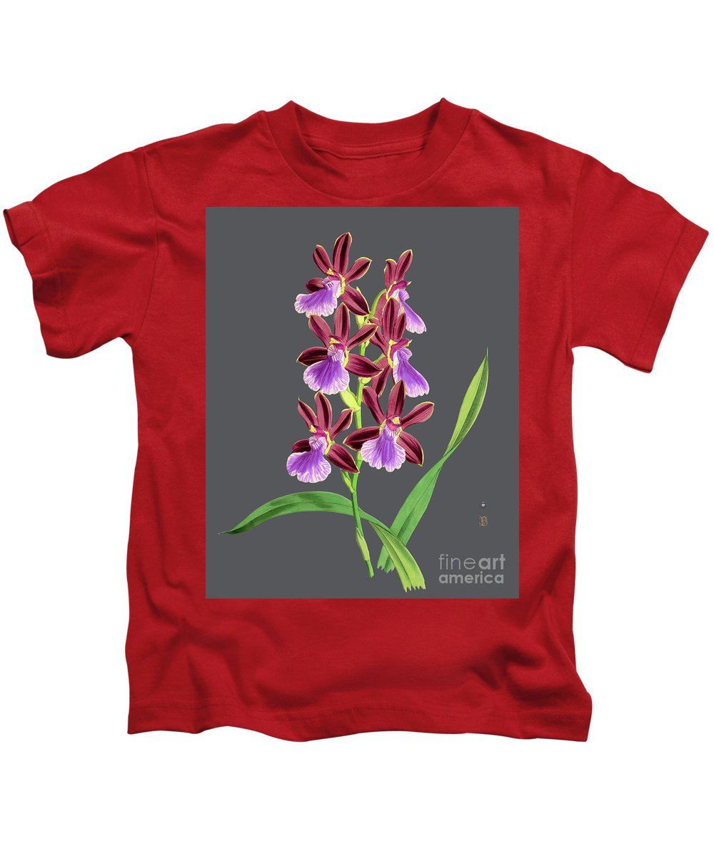 Vintage Kids T-Shirt featuring the mixed media Orchid Old Print by Baptiste Posters