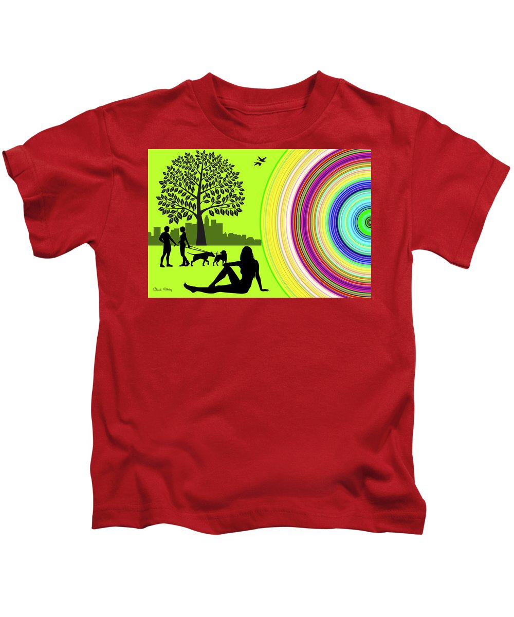 Staley Kids T-Shirt featuring the digital art A Day In The Park by Chuck Staley
