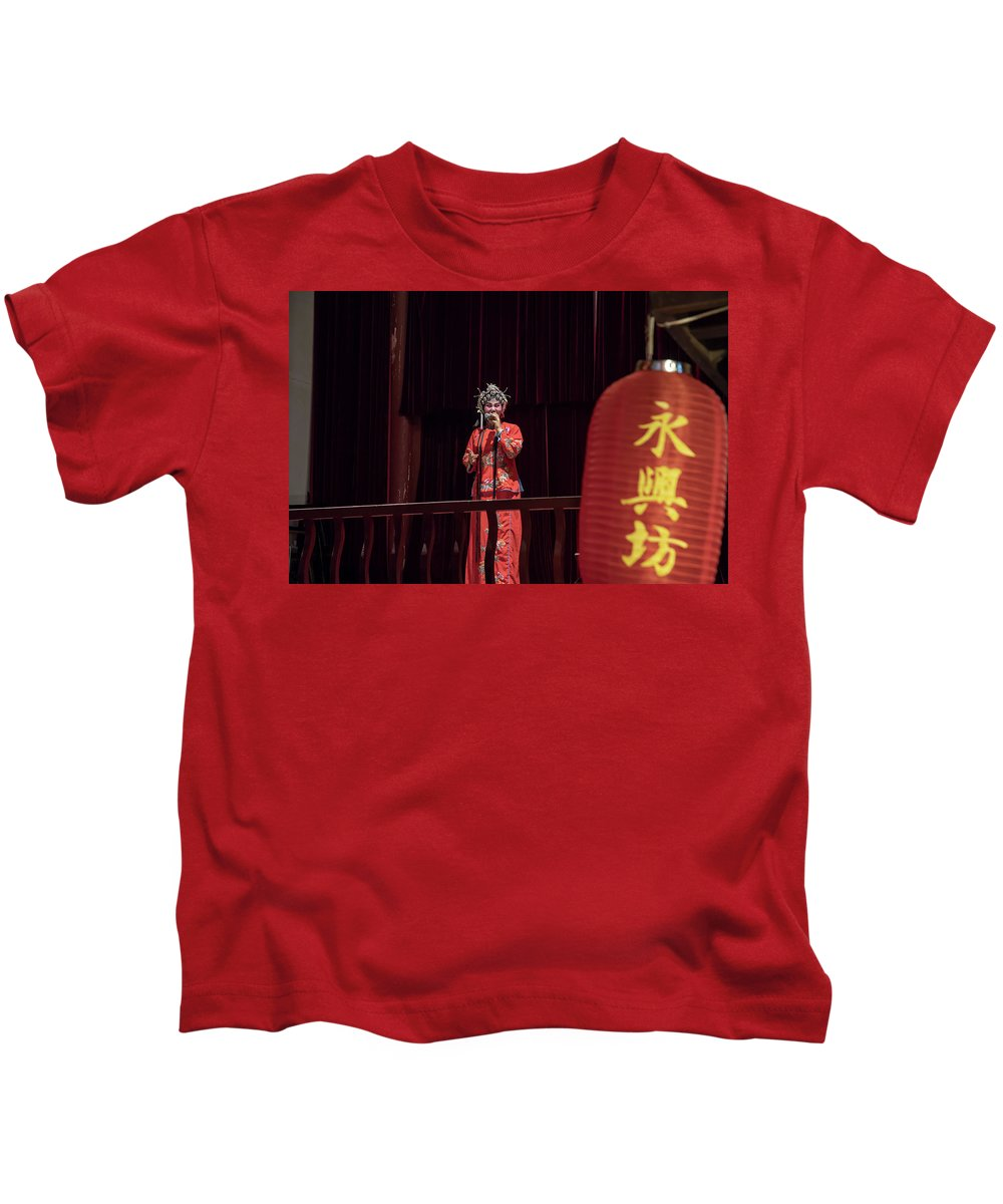 Asia Kids T-Shirt featuring the photograph Chinese Opera Singer Onstage by Karen Foley