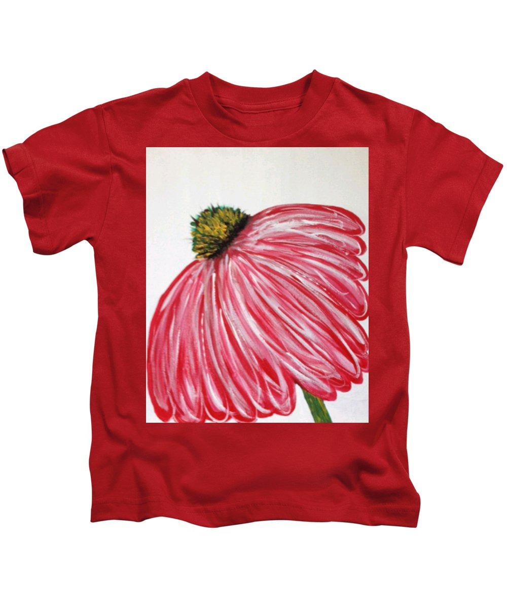 Becky Nelson Kids T-Shirt featuring the painting Cone Flower by Becky Nelson