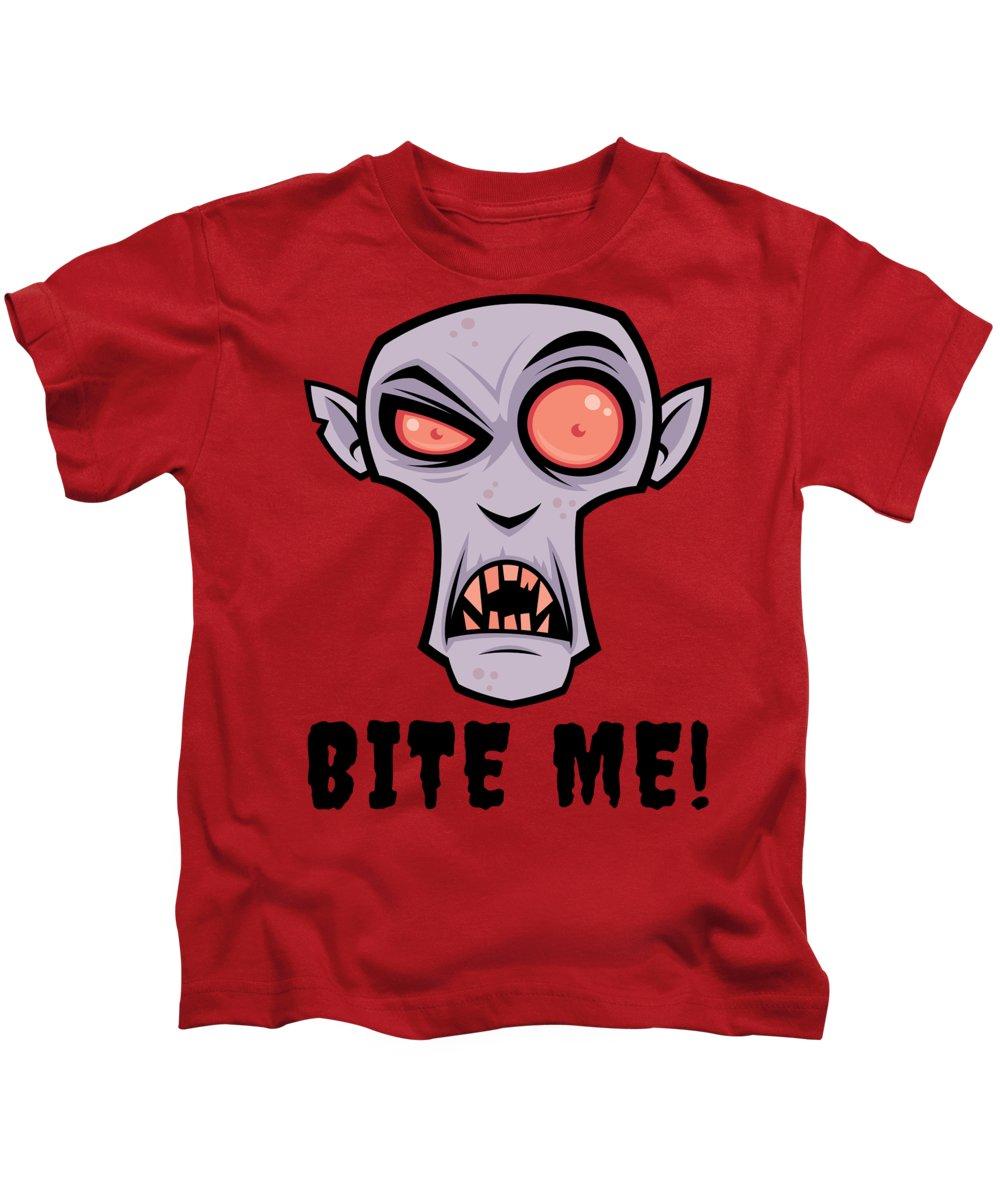 Cartoon Kids T-Shirt featuring the digital art Creepy Vampire Cartoon with Bite Me Text by John Schwegel