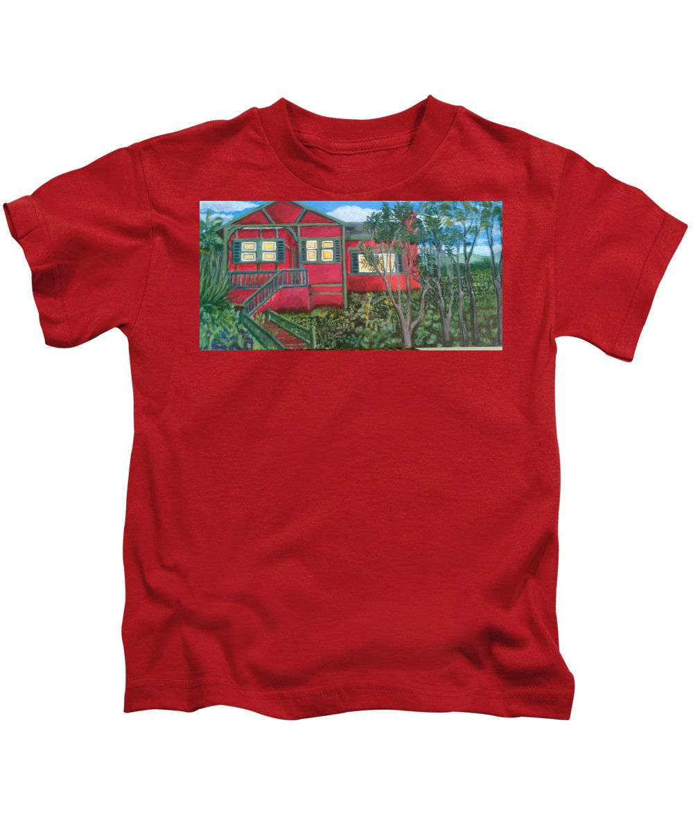 Painting Of House Kids T-Shirt featuring the painting Fresh yard by Andrew Johnson