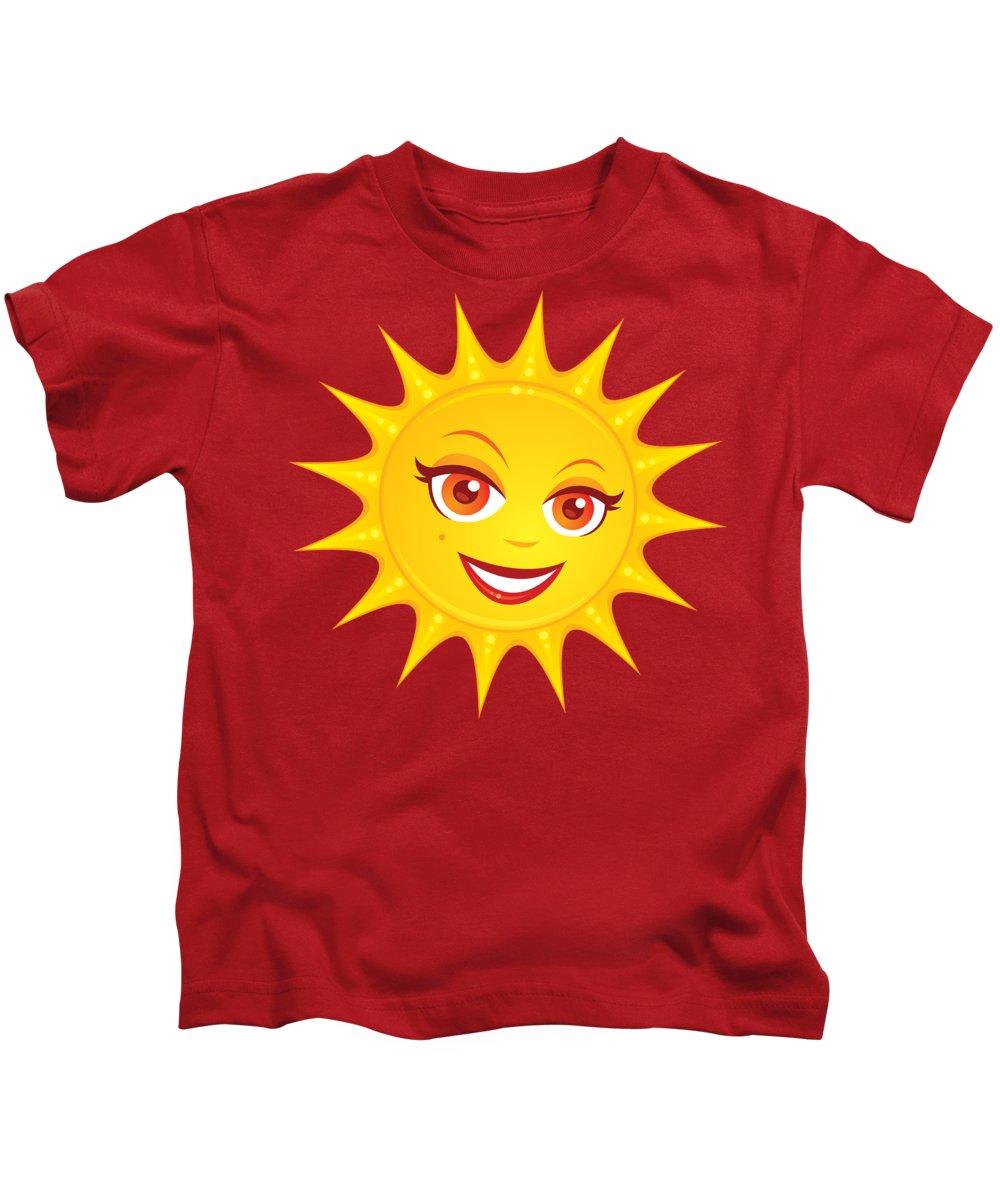 Beach Kids T-Shirt featuring the digital art Hot Summer Sun by John Schwegel