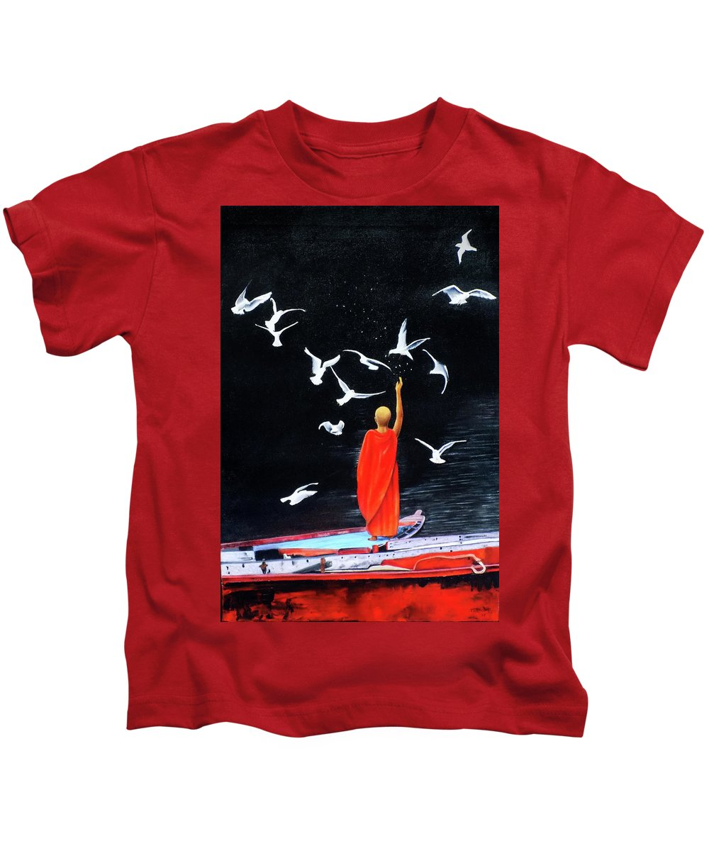 Canvas Kids T-Shirt featuring the painting Philia by Kamaldeep Kaur