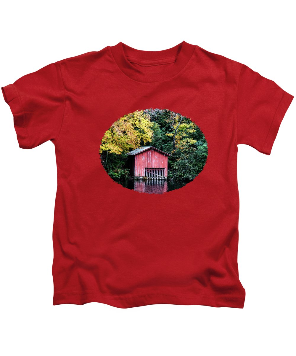 Red Kids T-Shirt featuring the photograph Red Boathouse by Anita Faye