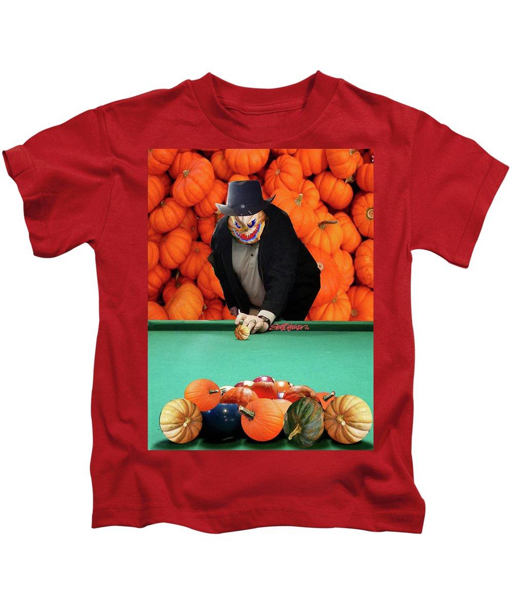 Spooky Pumpkin Pool Kids T-Shirt featuring the digital art Spooky Pumpkin Pool by Seth Weaver