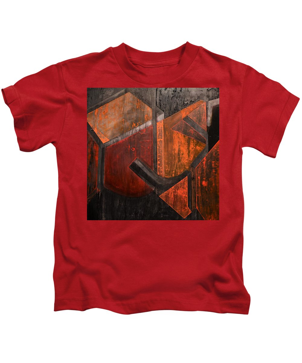 Frank Stella Tribute Kids T-Shirt featuring the painting Stellascape by Patrick N Brown