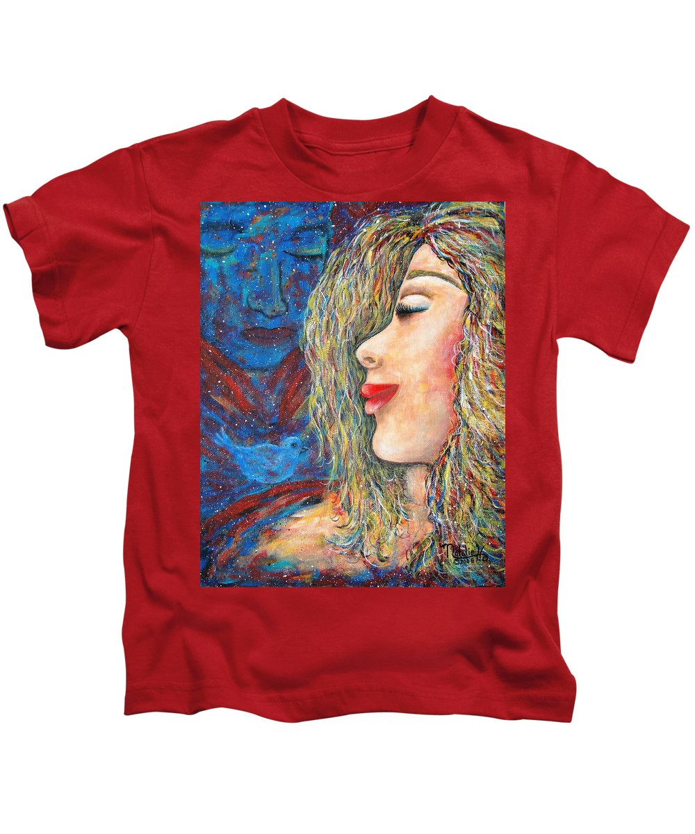 Man Kids T-Shirt featuring the painting Blue Bird Blue Bird by Natalie Holland