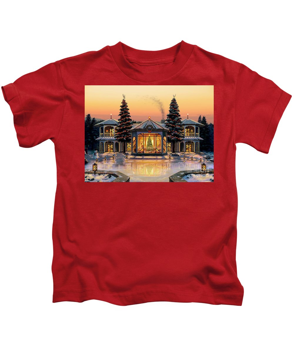 Christmas Kids T-Shirt featuring the painting A Warm Home For The Holidays by Stu Shepherd