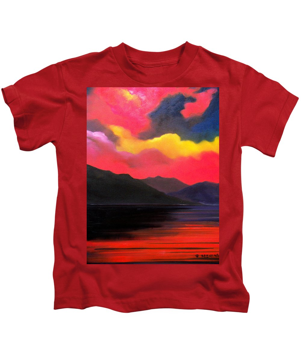 Surreal Kids T-Shirt featuring the painting Crimson clouds by Sergey Bezhinets