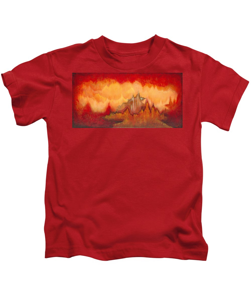 Red Kids T-Shirt featuring the painting From the Valley by Shadia Derbyshire