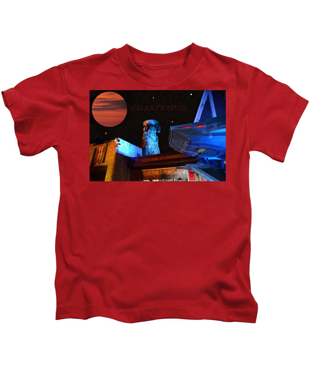 Spaceship Kids T-Shirt featuring the mixed media Galaxy's Edge Poster Work A by David Lee Thompson
