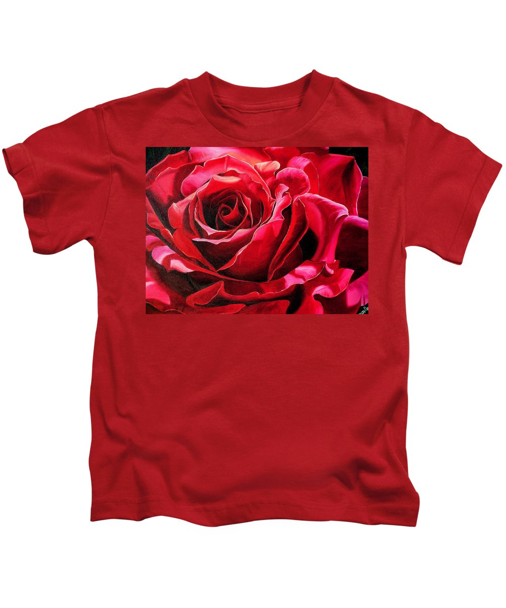 Rose Painting Kids T-Shirt featuring the painting Labelle Rose    by Karin Dawn Kelshall- Best