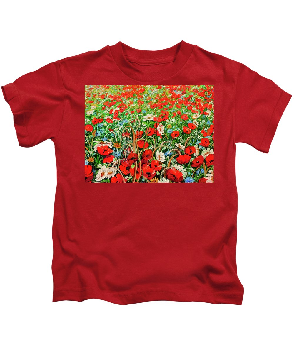 Floral Painting Flower Painting Red Poppies Painting Daisy Painting Field Poppies Painting Field Poppies Floral Flowers Wild Botanical Painting Red Painting Greeting Card Painting Kids T-Shirt featuring the painting Poppies In The Wild by Karin Dawn Kelshall- Best