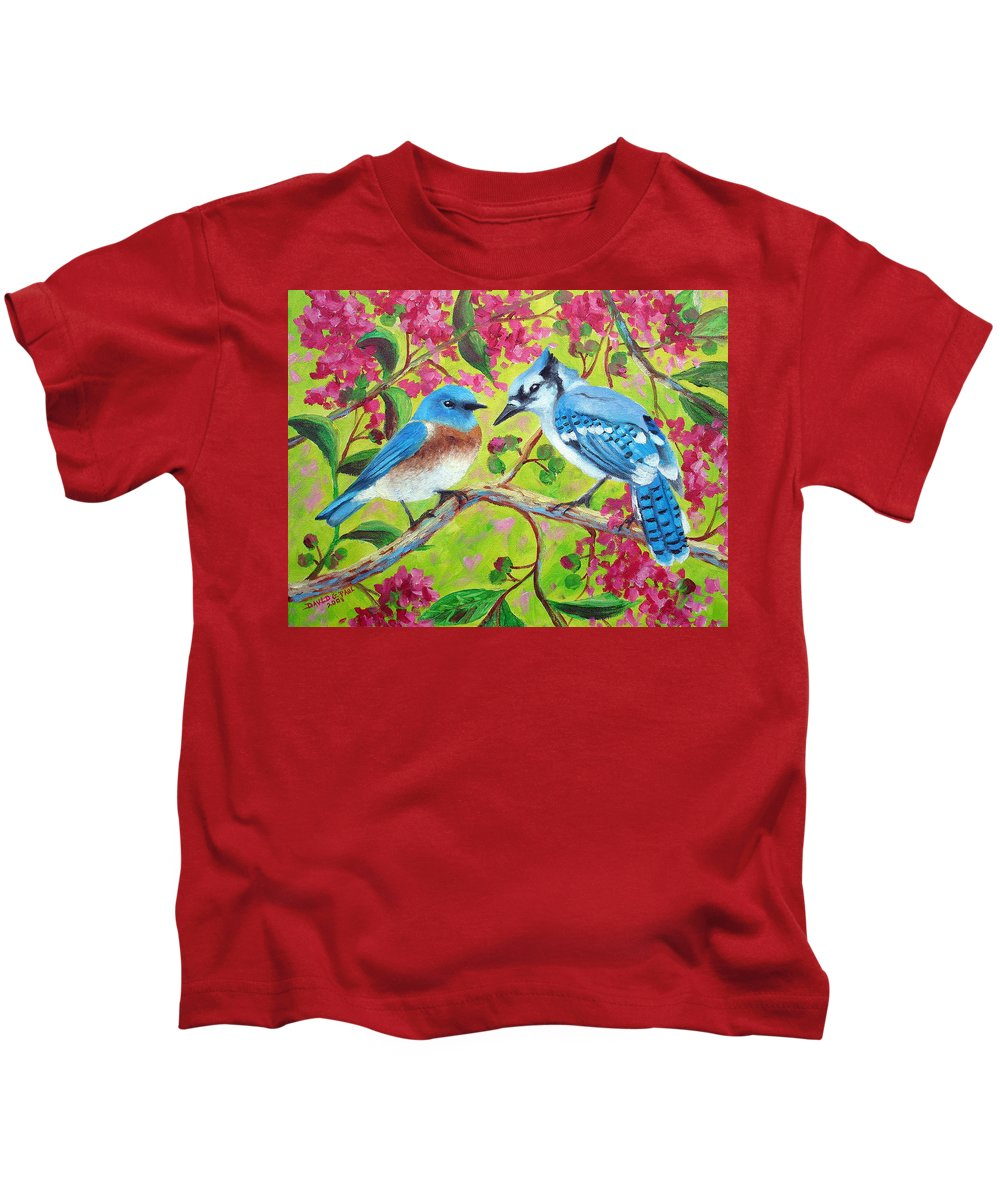 Birds Kids T-Shirt featuring the painting Sharing A Branch by David G Paul