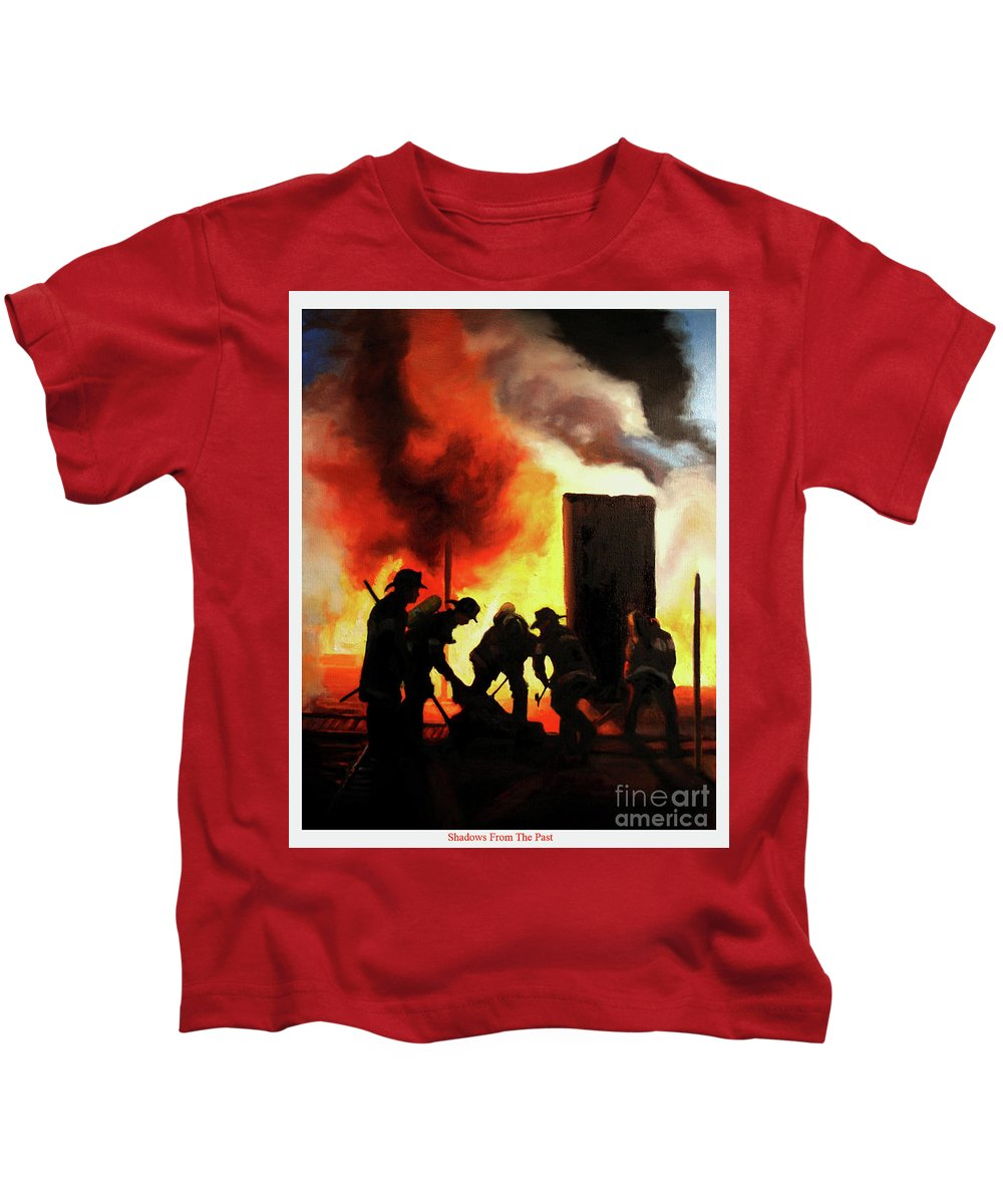 Fdny Kids T-Shirt featuring the painting Shadows From The Past by Paul Walsh