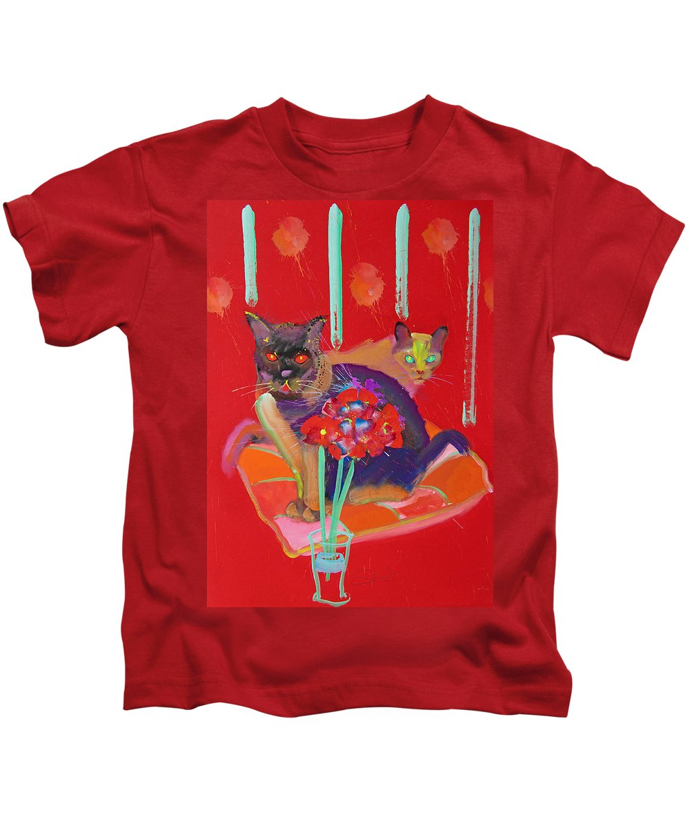 Burmese Cat Kids T-Shirt featuring the painting Symphony In Red Two by Charles Stuart