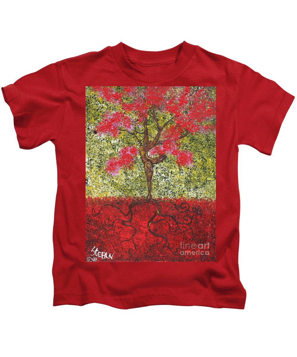 Dancer Kids T-Shirt featuring the painting The Lady Tree Dancer by Stefan Duncan