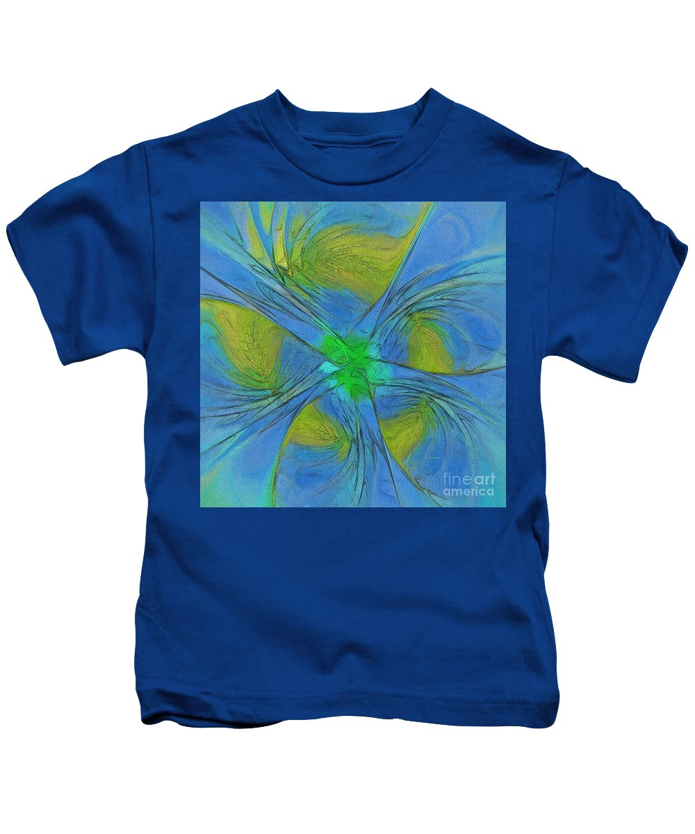 Shape Kids T-Shirt featuring the painting 004 Abstract by Deborah Benoit