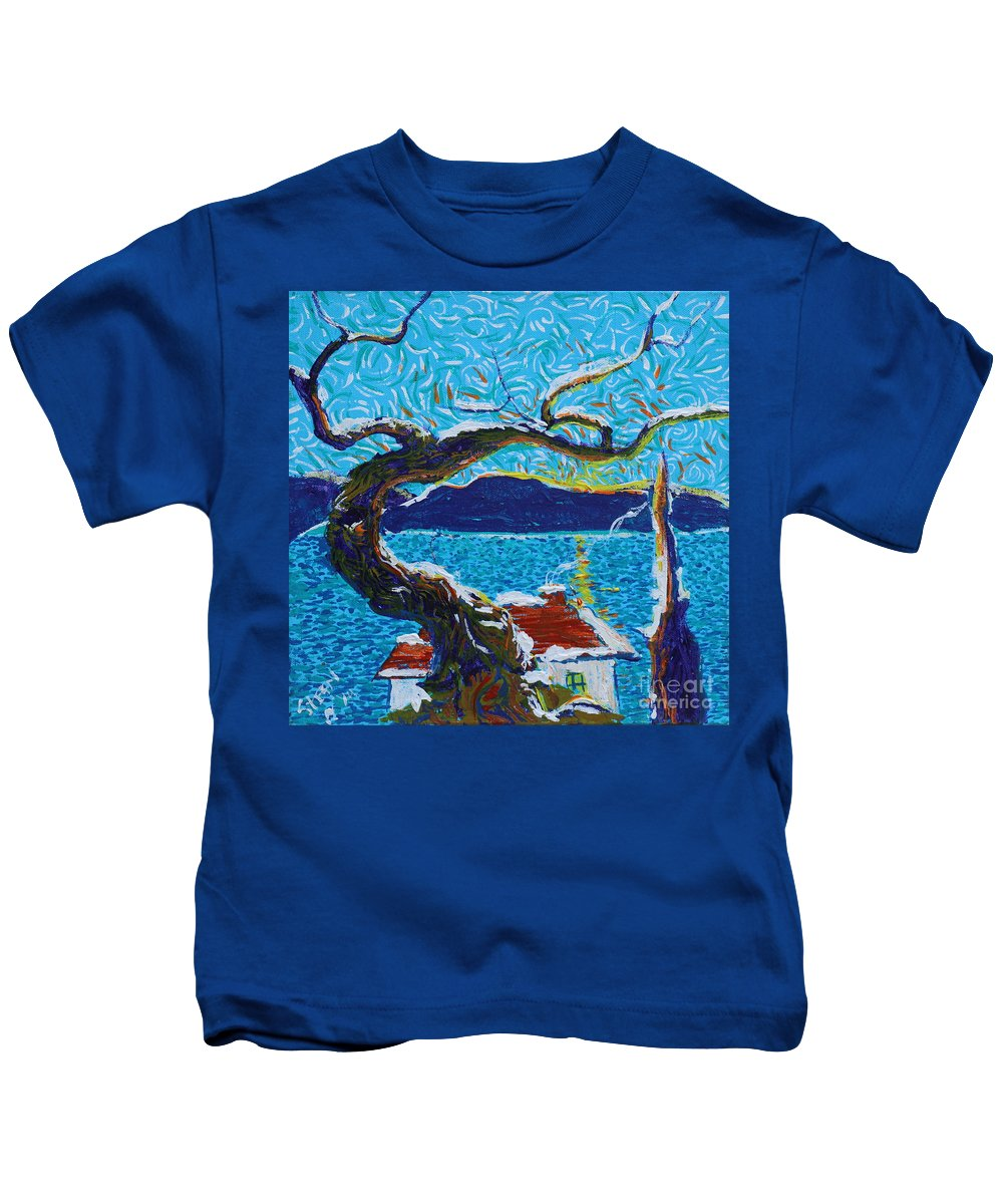 Landscape Kids T-Shirt featuring the painting A River's Snow by Stefan Duncan