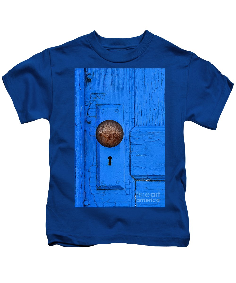 Abstract Kids T-Shirt featuring the photograph Blue Door by Lauren Leigh Hunter Fine Art Photography
