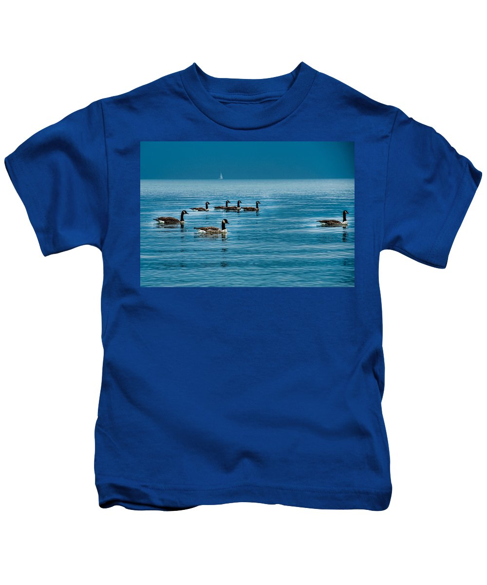 Animal Kids T-Shirt featuring the photograph Canadian Geese by Joseph Amaral