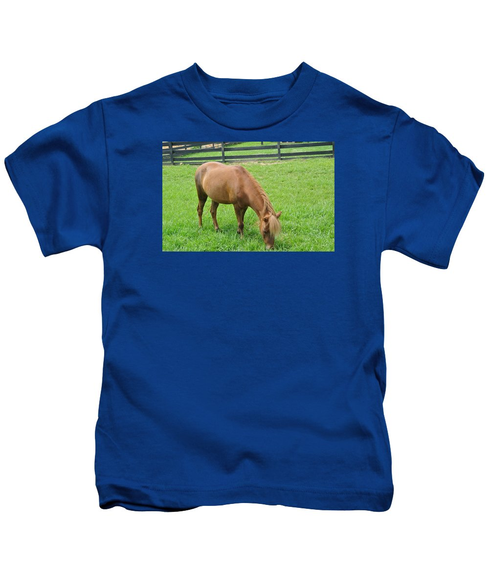 Field Kids T-Shirt featuring the photograph Horse by FL collection