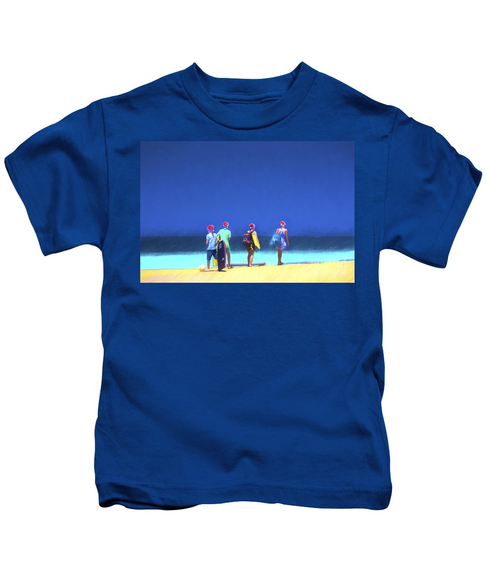 Children In Santa Hats Kids T-Shirt featuring the photograph Kids in santa hats at beach by Sheila Smart Fine Art Photography