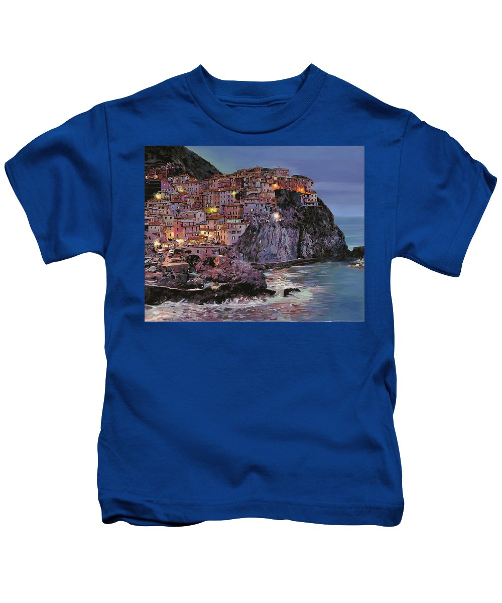 Manarola Kids T-Shirt featuring the painting Manarola At Dusk by Guido Borelli