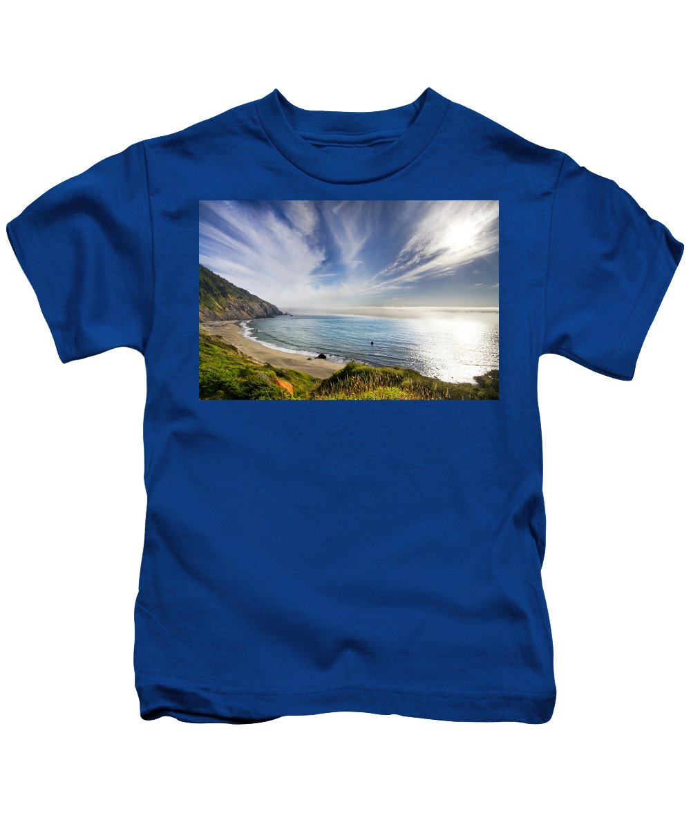 Clouds Kids T-Shirt featuring the photograph Oregon Coastline by Debra and Dave Vanderlaan