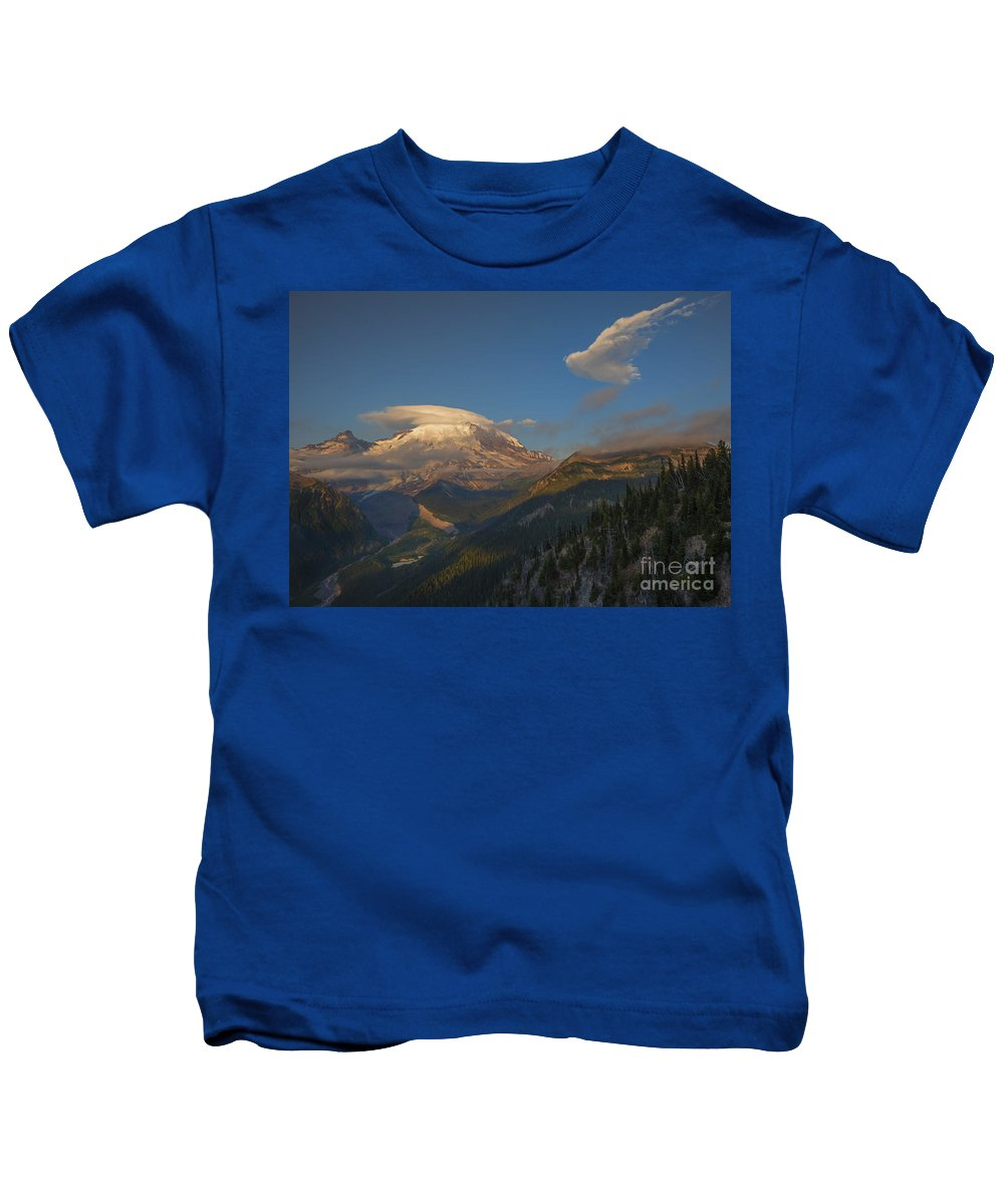 Rainier Kids T-Shirt featuring the photograph Rainier Capped by Mike Dawson