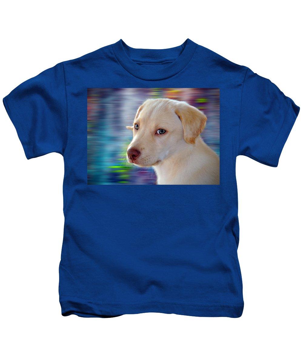 White Chocolate Lab Kids T-Shirt featuring the photograph Summer Joy by Savannah Gibbs