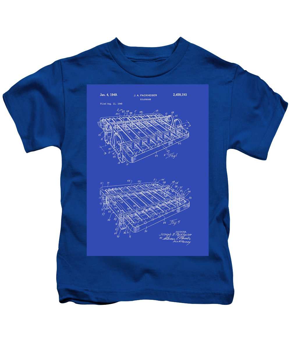 Patent Kids T-Shirt featuring the drawing Xylophone Patent 1949 by Mountain Dreams