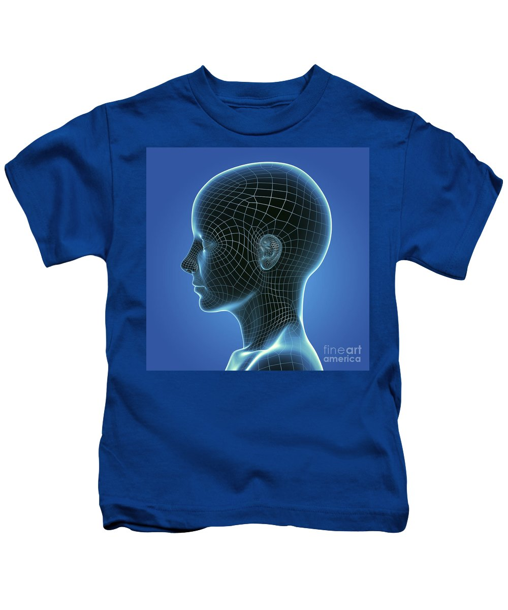 3d Visualisation Kids T-Shirt featuring the photograph Digital Being by Science Picture Co