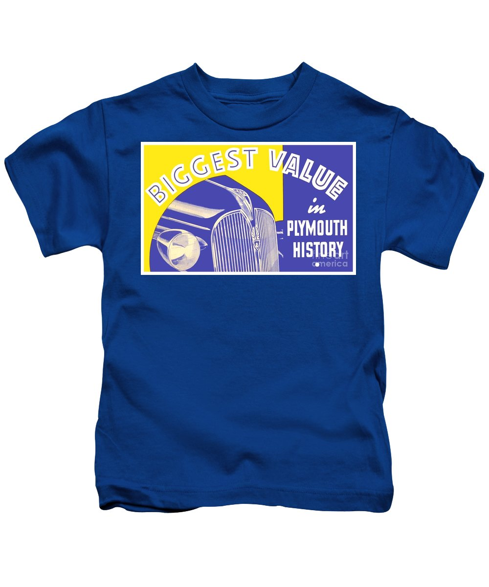 1936 Kids T-Shirt featuring the digital art 1937 - Plymouth Automobile Advertisement - Color by John Madison