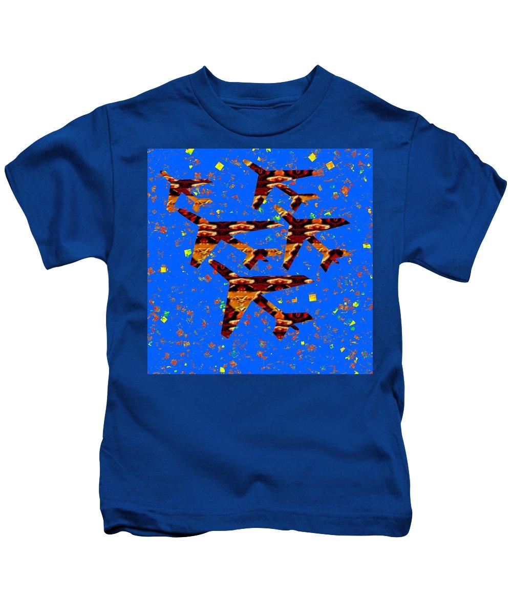 Kids Room Kids T-Shirt featuring the mixed media Kids Love Aeroplane Interior Decorations Signature  Art Navinjoshi Artist Created Images Textures by Navin Joshi