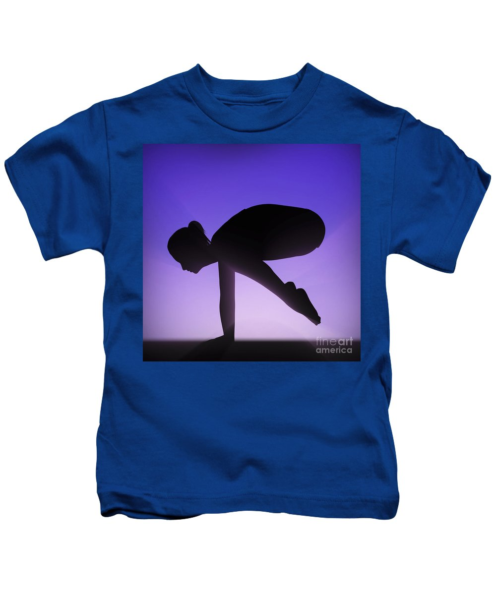 Fitness Kids T-Shirt featuring the photograph Yoga Crane Pose by Science Picture Co