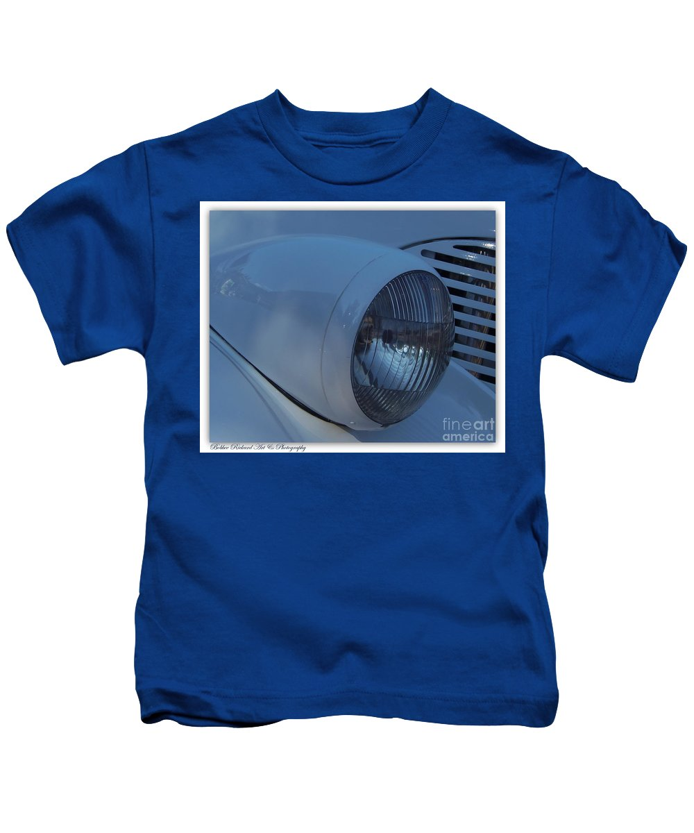 Hot Rod Kids T-Shirt featuring the photograph '38 Chevy Head Light by Bobbee Rickard