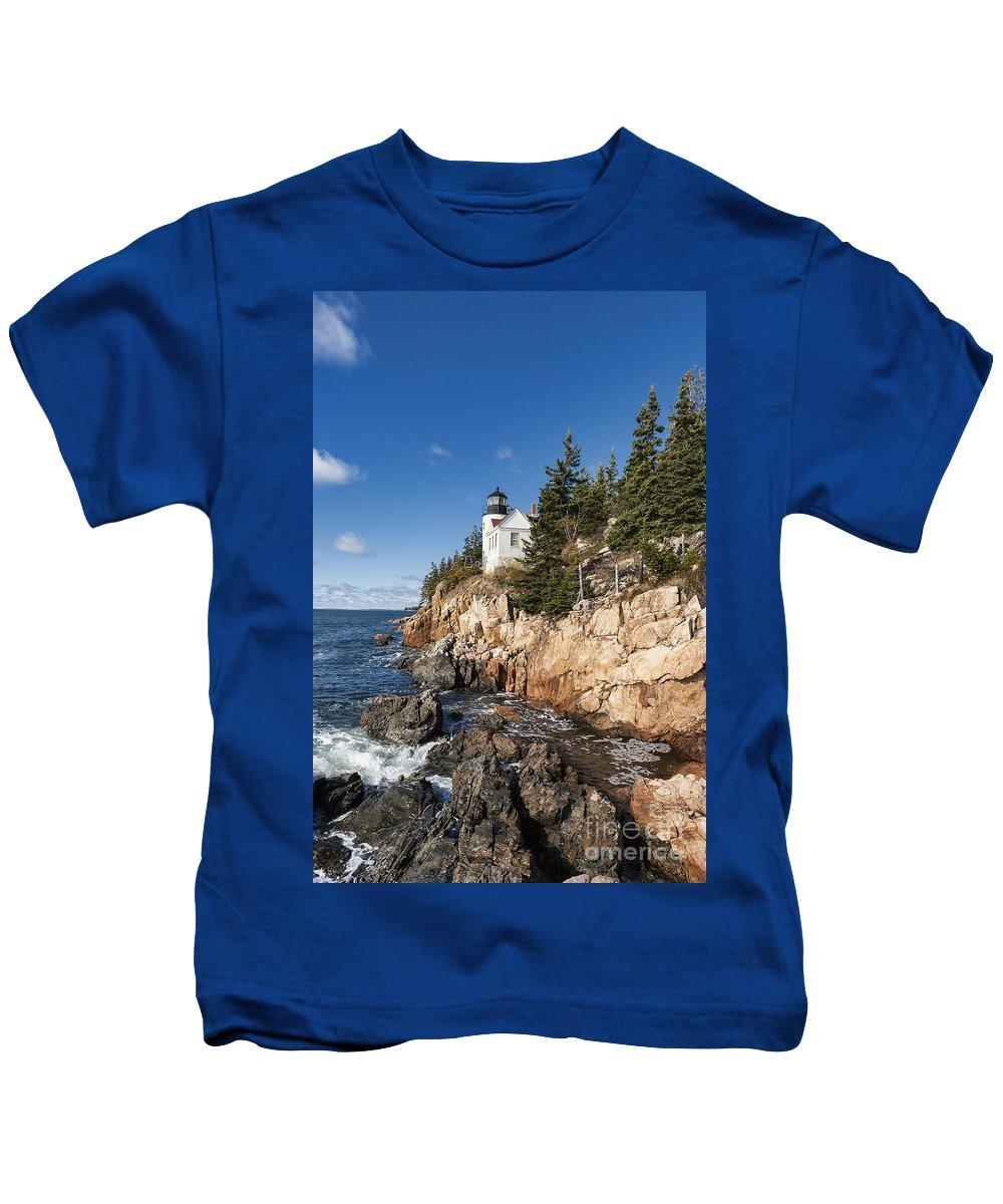 Acadia Kids T-Shirt featuring the photograph Bass Harbor Light by John Greim