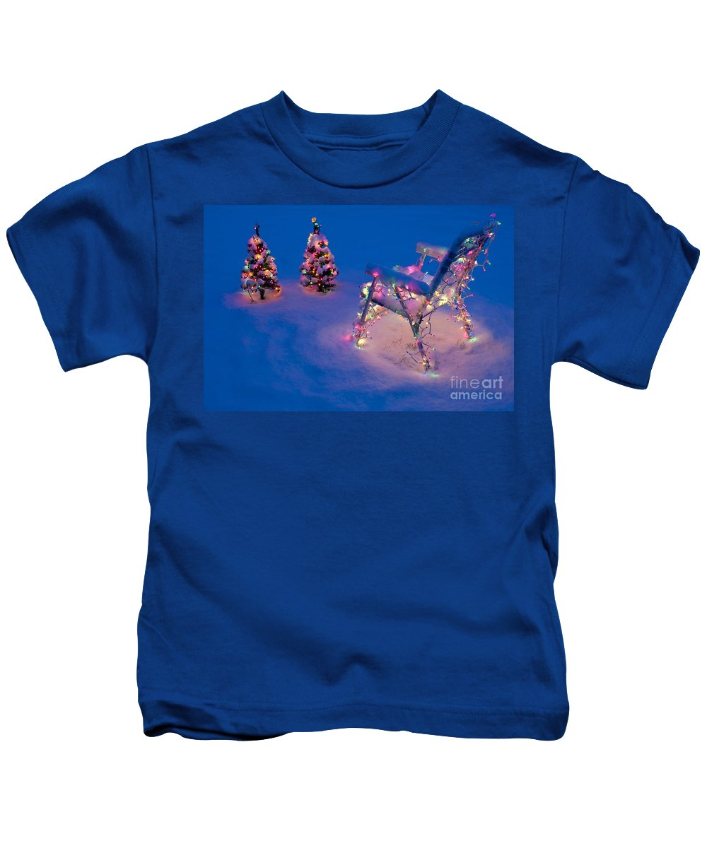 Christmas Kids T-Shirt featuring the photograph Christmas Lights On Trees And Lawn Chair by Jim Corwin
