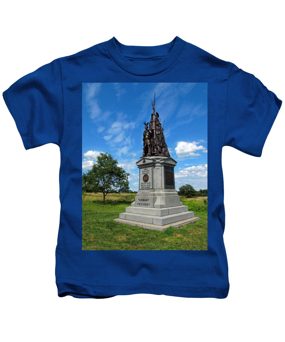 Gettysburg Kids T-Shirt featuring the photograph 42 Ny Infantry Regiment Memorial by Dave Mills