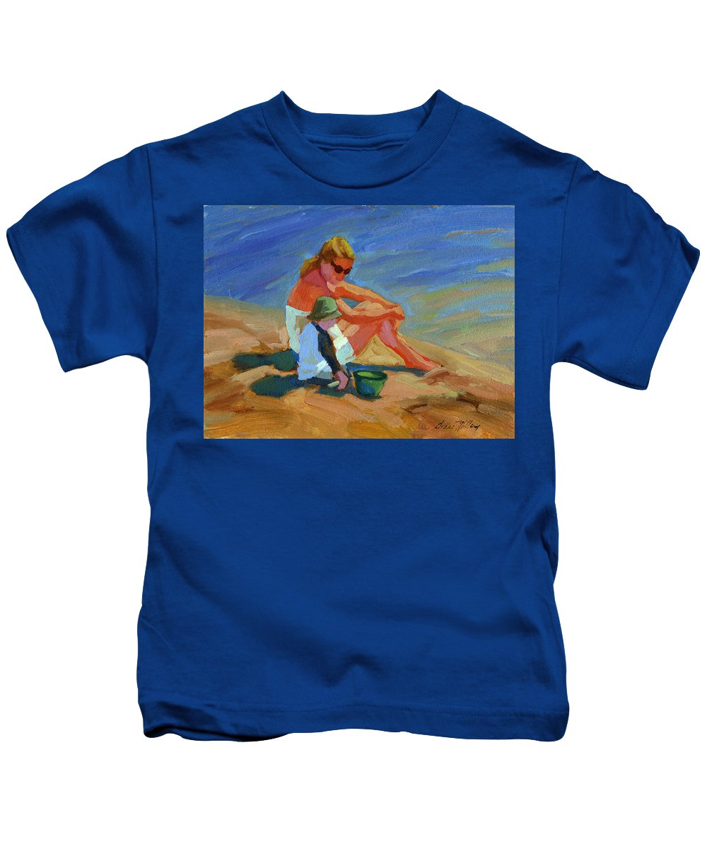 Lake Arrowhead Kids T-Shirt featuring the painting A Mother's Love by Diane McClary