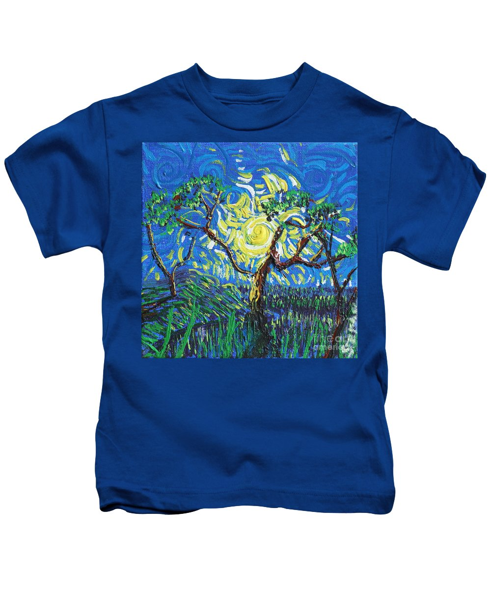 Landscape Kids T-Shirt featuring the painting A Sunny Day For The Tree by Stefan Duncan