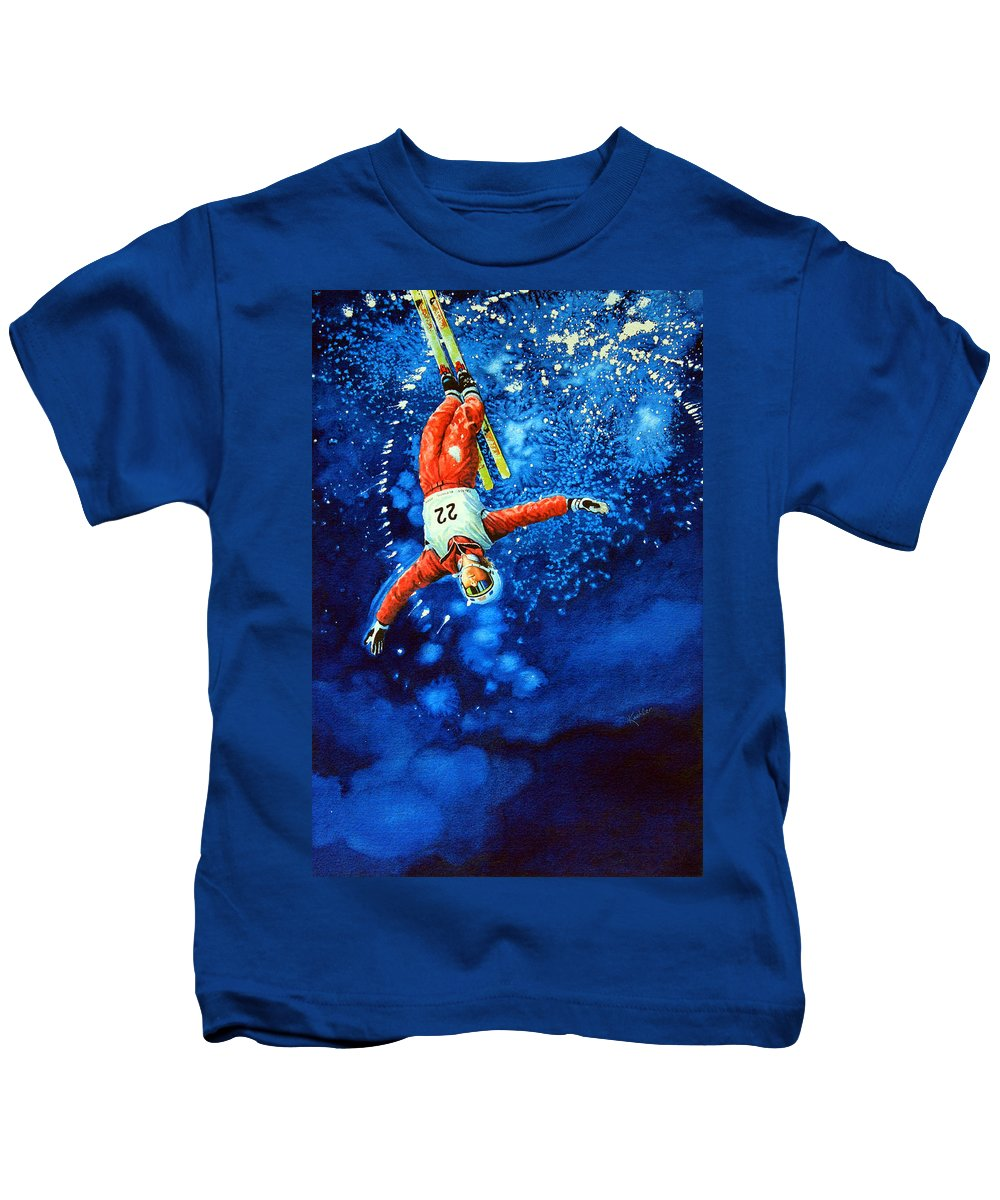 Sports Art Kids T-Shirt featuring the painting Air Force by Hanne Lore Koehler