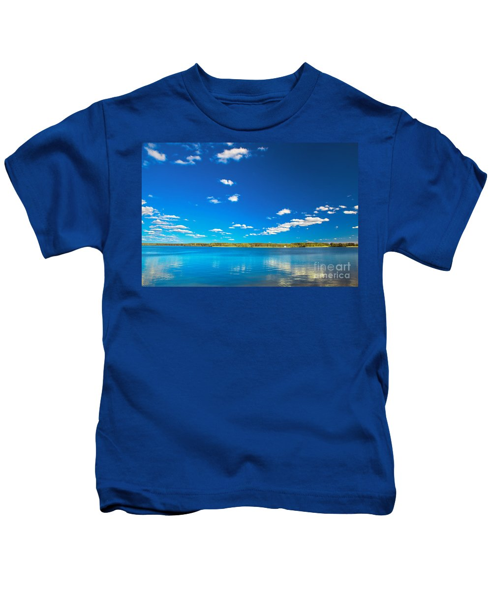 Lake Kids T-Shirt featuring the photograph Amazing Clear Lake Under Blue Sunny Sky by Michal Bednarek