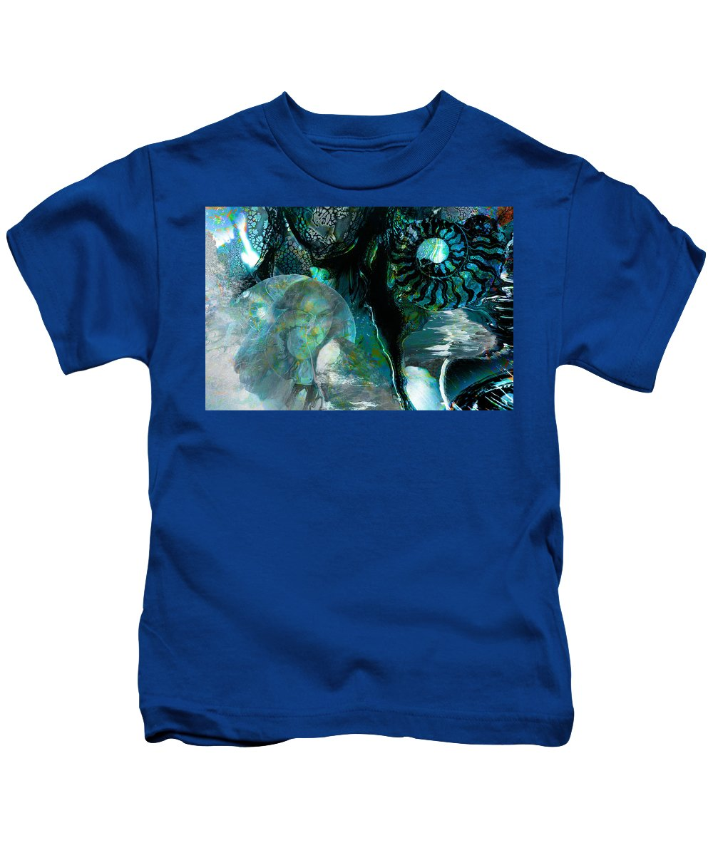 Ocean Kids T-Shirt featuring the digital art Ammonite Seascape by Lisa Yount