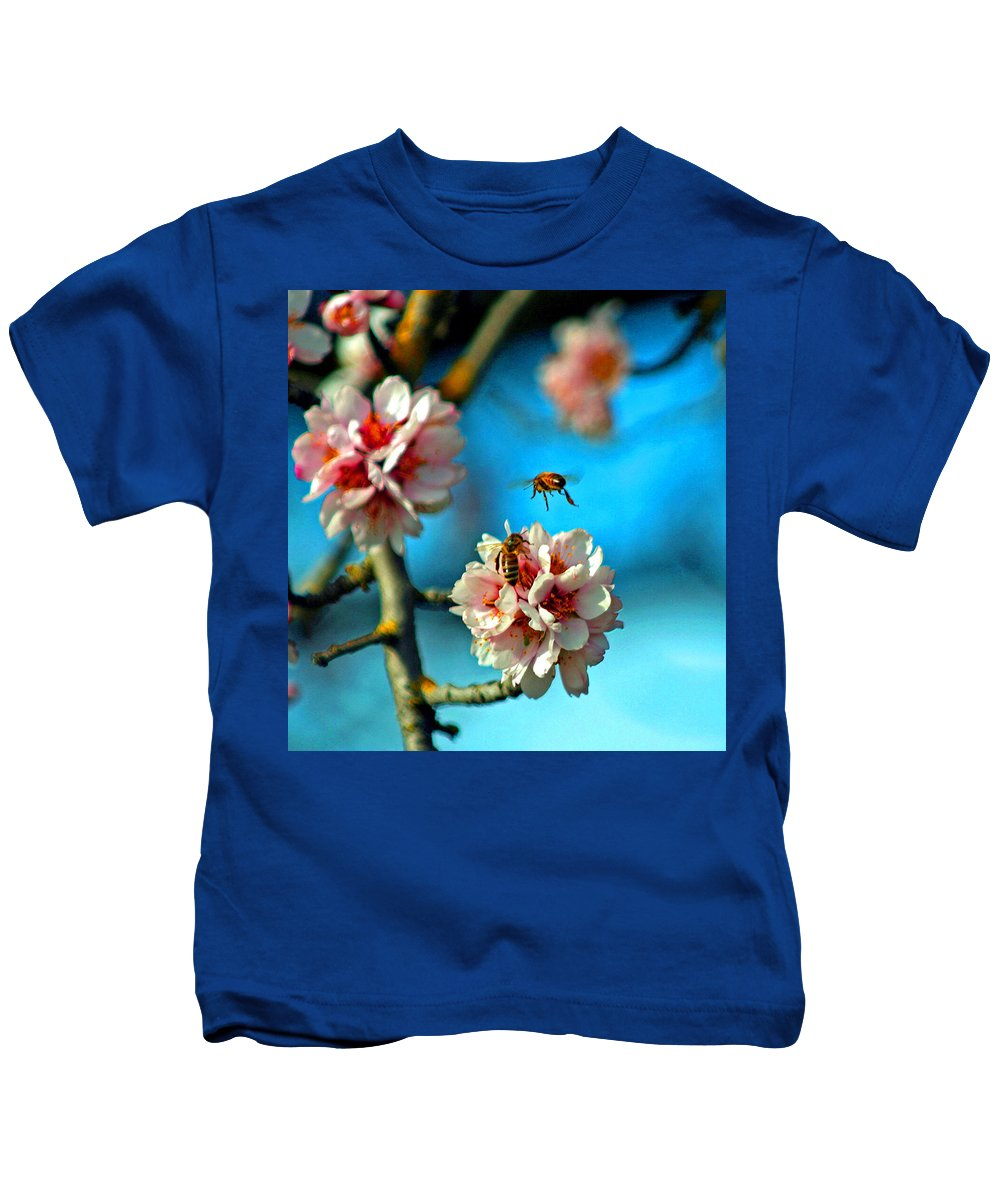 Almond Trees Kids T-Shirt featuring the digital art An Almond Pollen Day by Joseph Coulombe