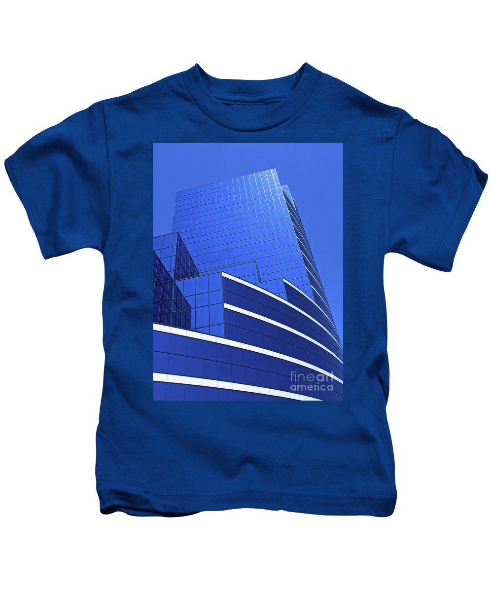 Architecture Kids T-Shirt featuring the photograph Architectural Blues by Ann Horn
