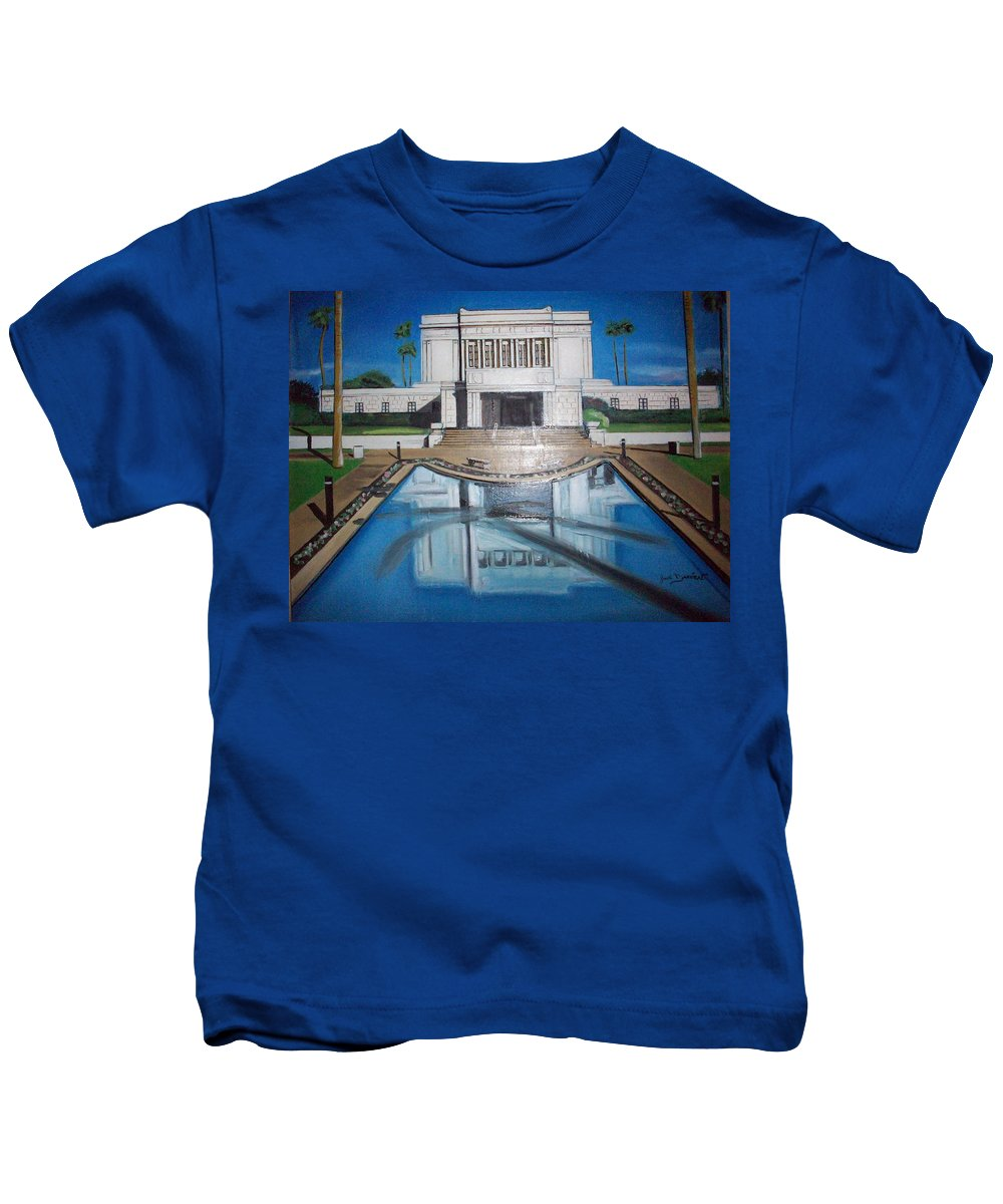 Kids T-Shirt featuring the painting Architectural Landscape by Jude Darrien